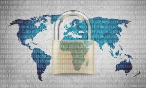binary code over large lock over world map